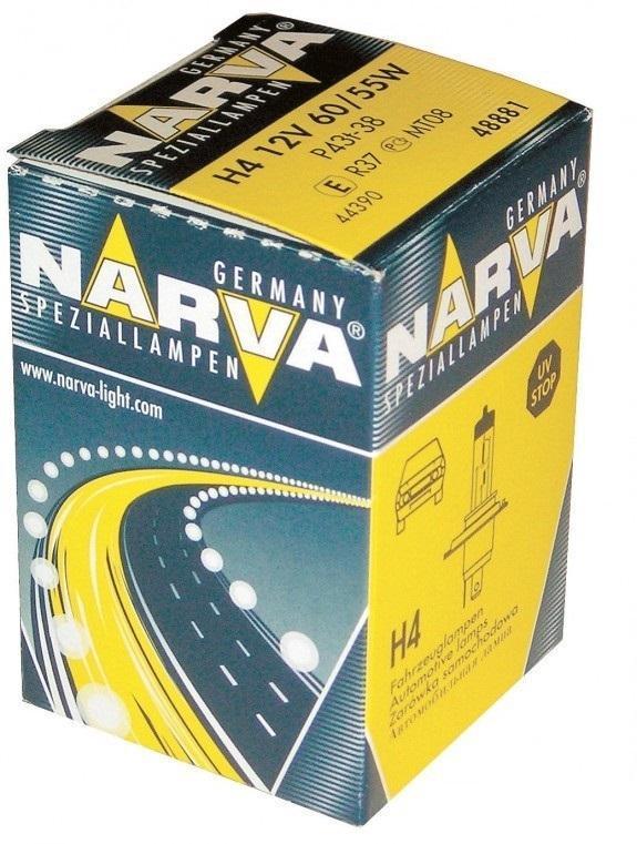 Лампа автомобильная галогенная NARVA, цоколь H4, 12V, 55-60W