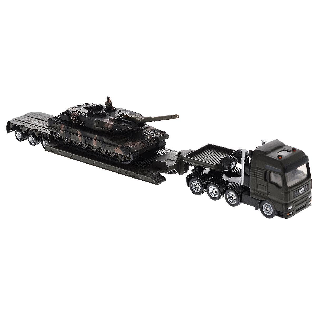 Siku Тягач MAN с танком на платформе цена