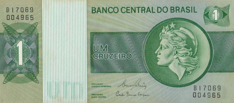 Банкнота номиналом 1 крузейро. Бразилия. 1980 год