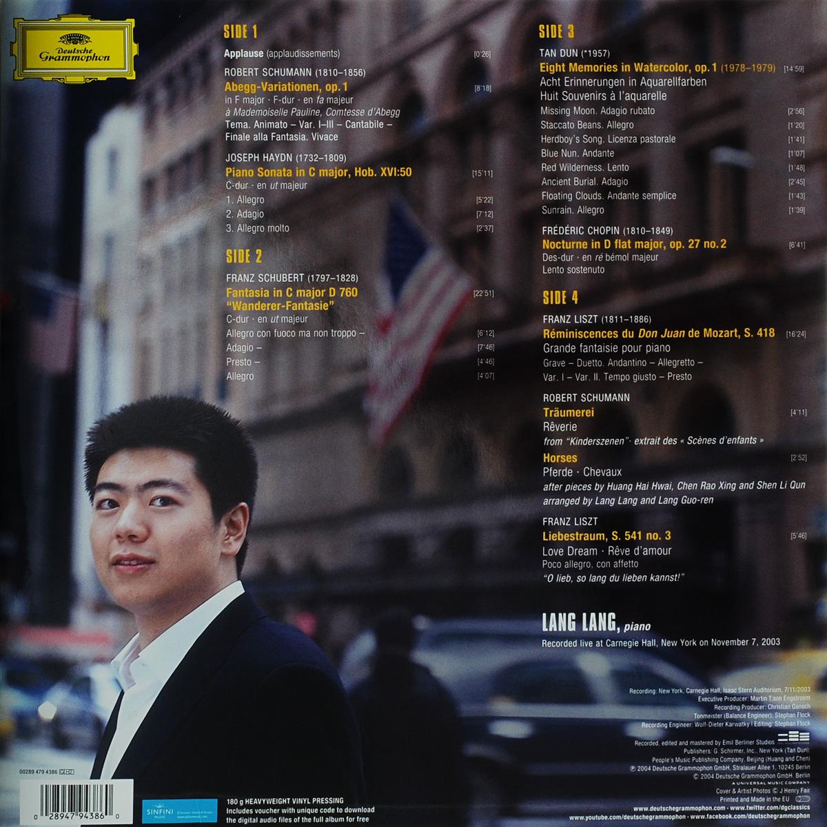 Lang Lang. Live At Carnegie Hall (2 LP) 28947943860 3