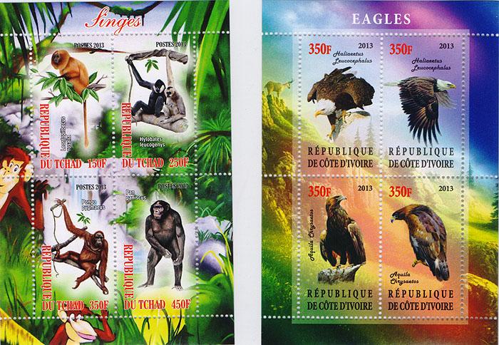 Комплект из 2 почтовых блоков Обезьяны и Орлы. Кот-д' Ивуар, Чад, 2013 год малый лист бабочки кот д ивуар 2013 год