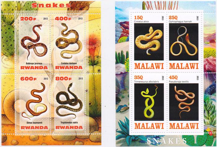 Комплект из 2 почтовых блоков Змеи. Малави, Руанда, 2013 год комплект из трех почтовых блоков рептилии джибути руанда малави 2013 год