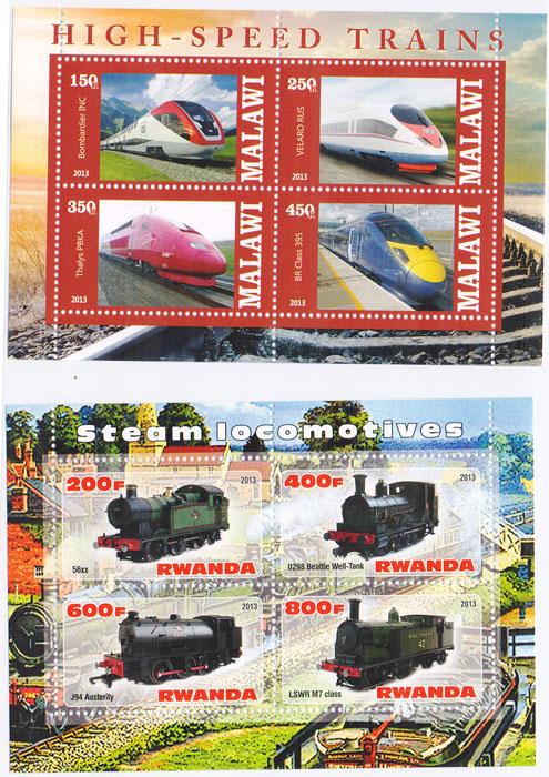 Комплект №1 из 2 почтовых блоков Высокоскоростные поезда и Паровозы. Малави, Руанда, 2013 год комплект из трех почтовых блоков рептилии джибути руанда малави 2013 год