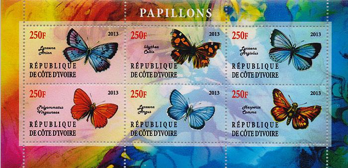 Малый лист Бабочки. Кот-д' Ивуар, 2013 год малый лист бабочки кот д ивуар 2013 год