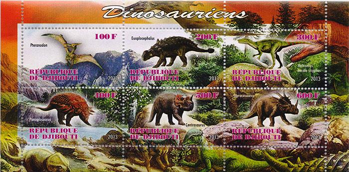 Малый лист Динозавры. Джибути, 2013 год малый лист бабочки кот д ивуар 2013 год