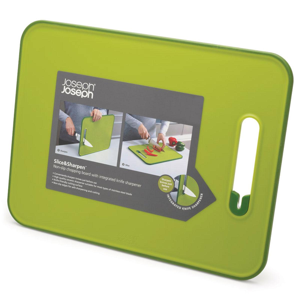 Доска разделочная Joseph Joseph Slice & Sharpen, с ножеточкой, цвет: зеленый, 29 х 22 х 1 см доска разделочная martika цвет зеленый 32 х 20 х 2 см 3 шт