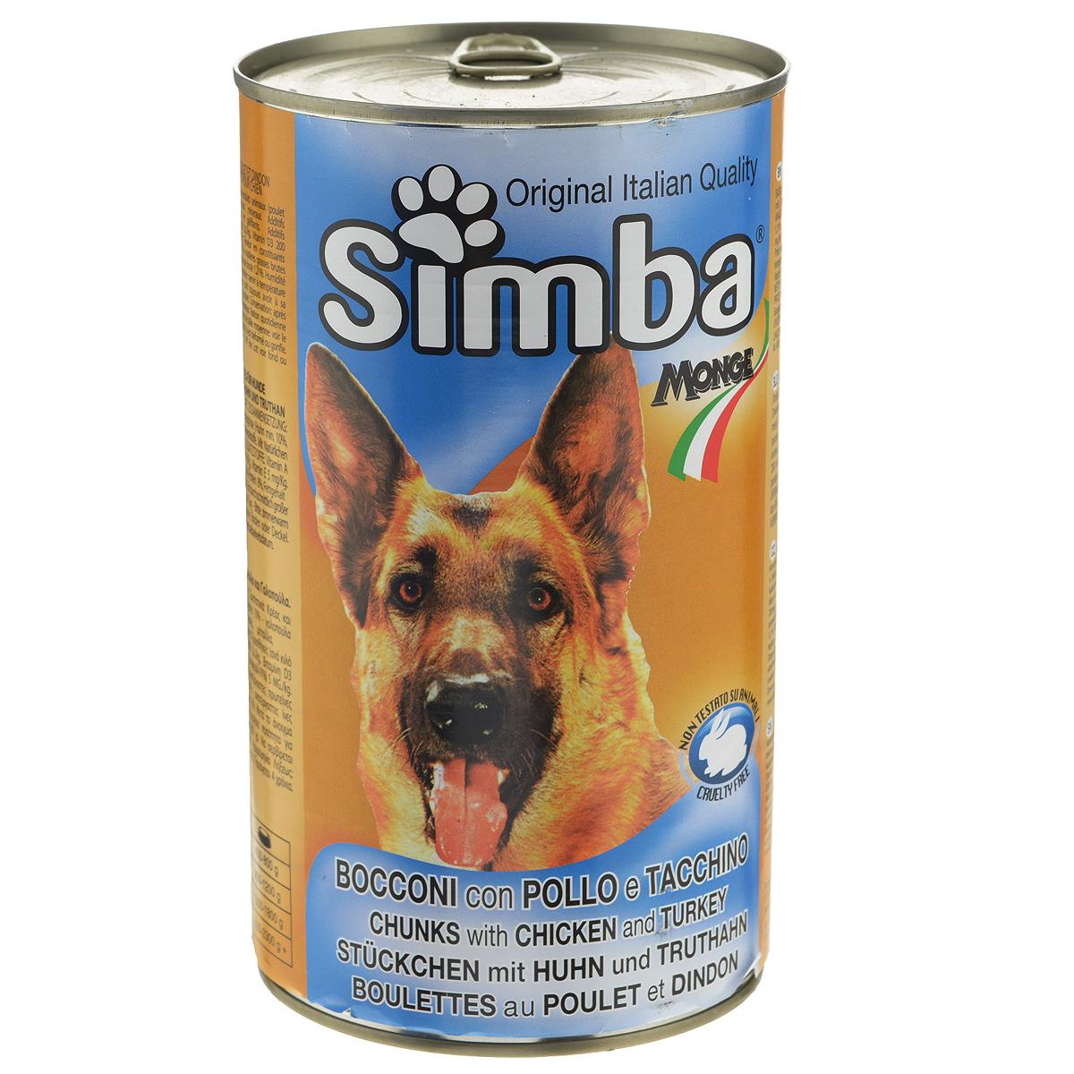 """Консервы для собак Monge """"Simba"""", кусочки с курицей и индейкой, 1230 г"""
