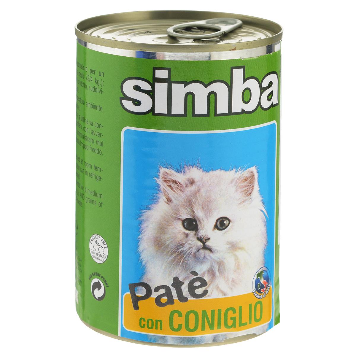 Консервы для кошек Monge Simba, паштет с кроликом, 400 г monge monge dog monoproteico solo консервы для собак паштет из курицы 400 г x 24 шт