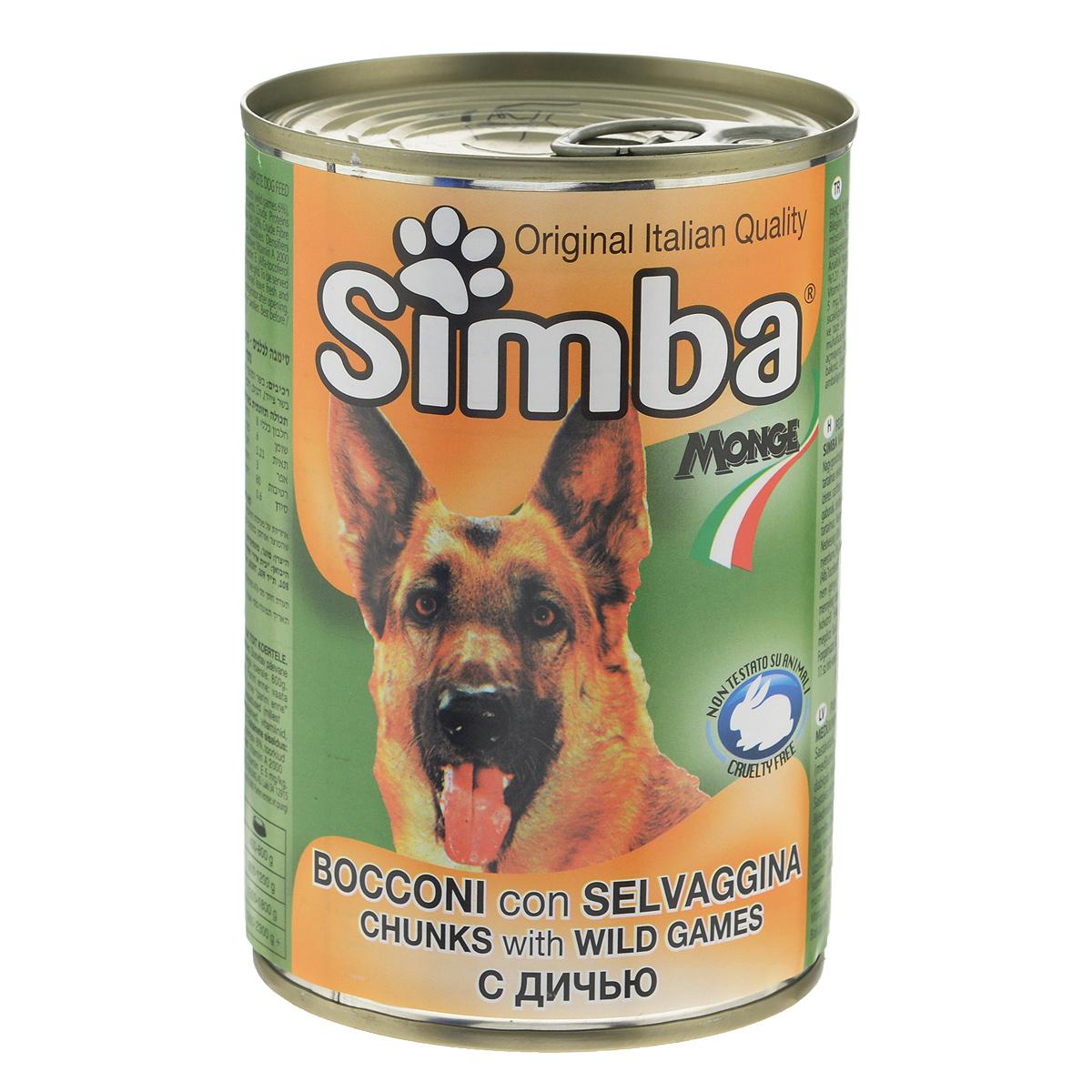 Консервы для собак Monge Simba, кусочки с дичью, 415 г консервы для собак monge fresh с ягненком 100 г