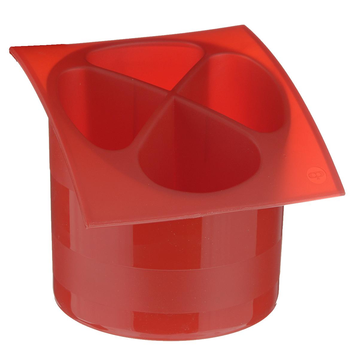 Подставка для столовых приборов Cosmoplast, цвет: красный, диаметр 14 см подставка для столовых приборов kesperd с ручками цвет коричневый 38 х 32 х 4 см