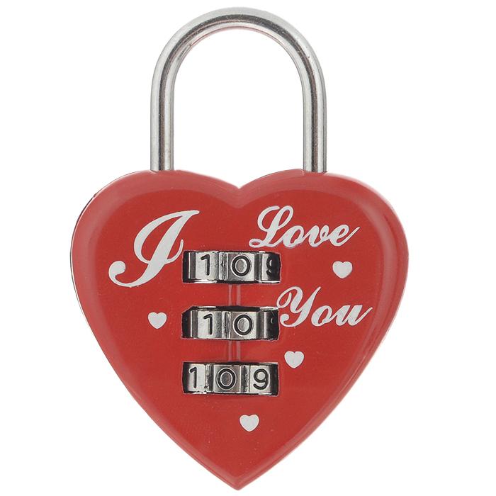 Замок для влюбленных Сердце, с кодовым набором, цвет: красный замочек для влюбленных i love you
