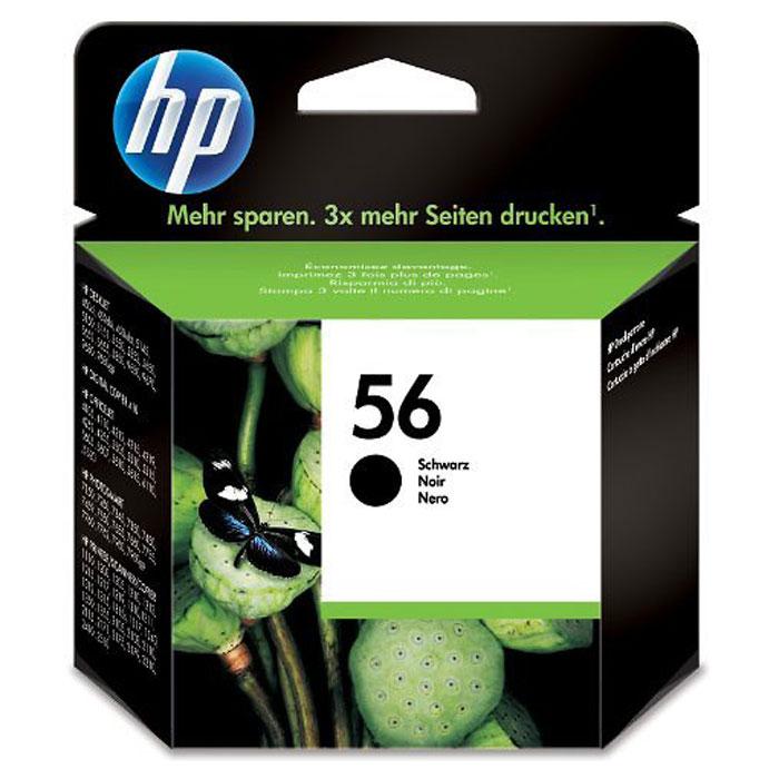 Картридж HP C6656AE 56, черный, для струйного принтера, оригинал картридж струйный hp 56 c6656ae черный для hp pcs 2100 dj 5550 450 ps 7150 7350 7550 520стр