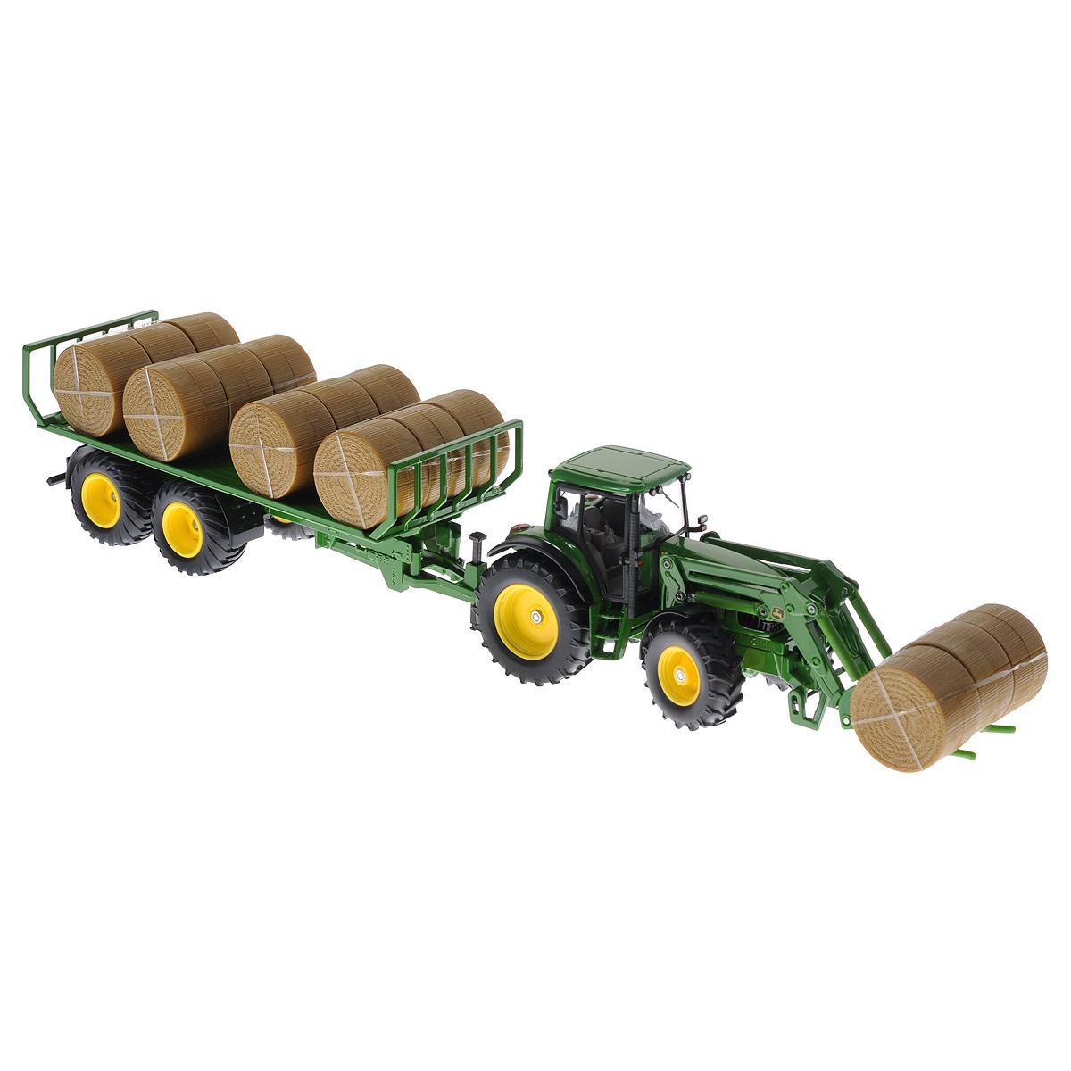 Siku Трактор John Deere с прицепом для круглых кип siku siku 1843 трактор john deere с ковшом прицепом 1 87