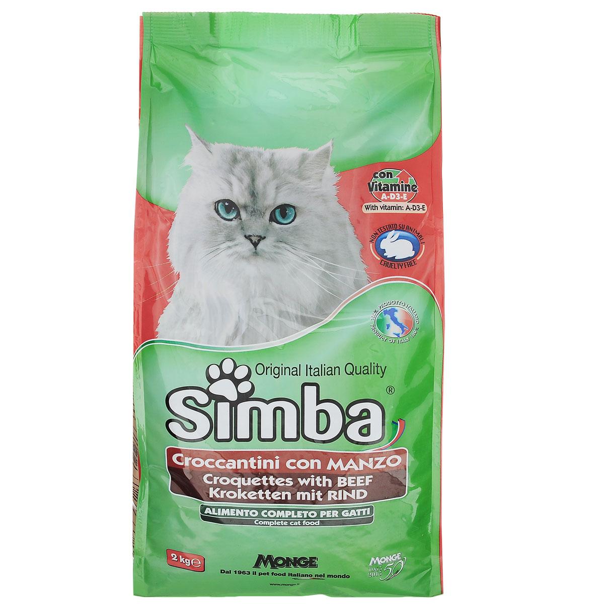 """Корм сухой для кошек Monge """"Simba"""", с говядиной, 2 кг"""