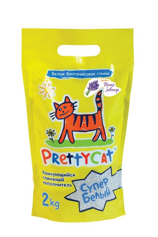 Наполнитель для кошачьих туалетов PrettyCat Супер белый, комкующийся, с ароматом лаванды, 2 кг наполнитель для кошачьих туалетов canada litter запах на замке комкующийся с ароматом детской присыпки 6 кг