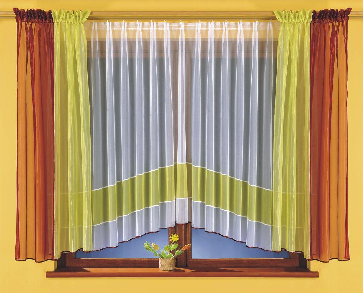 Комплект штор для кухни Wisan Tamara, на ленте, цвет: белый, зеленый, бордовый, высота 170 см шторы для кухни drdeco комплект штор basilic дизайн 9