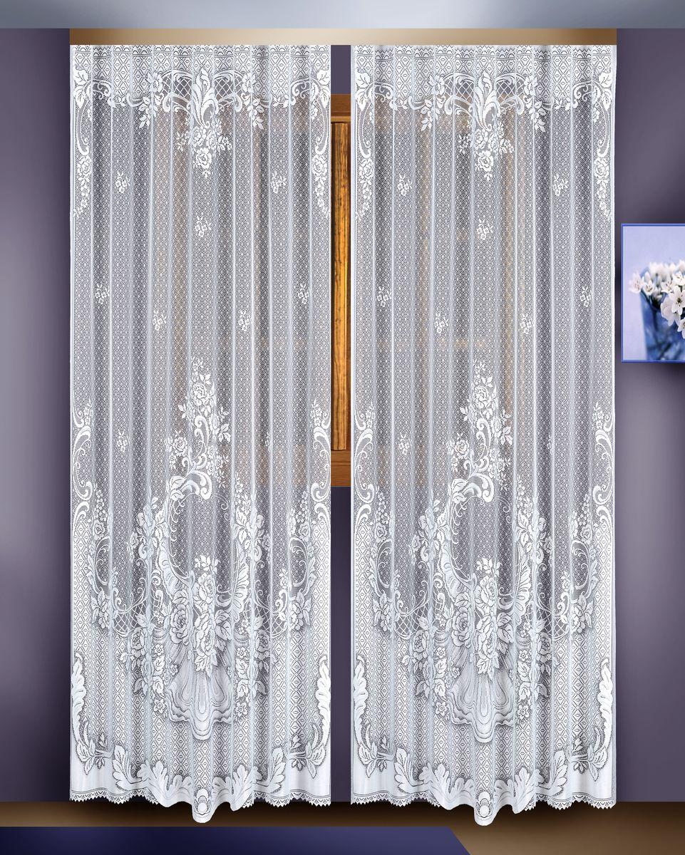 Гардина Zlata Korunka, цвет: белый, высота 255 см, 2 шт. 88822 гардина zlata korunka на зажимах высота 160 см 88858