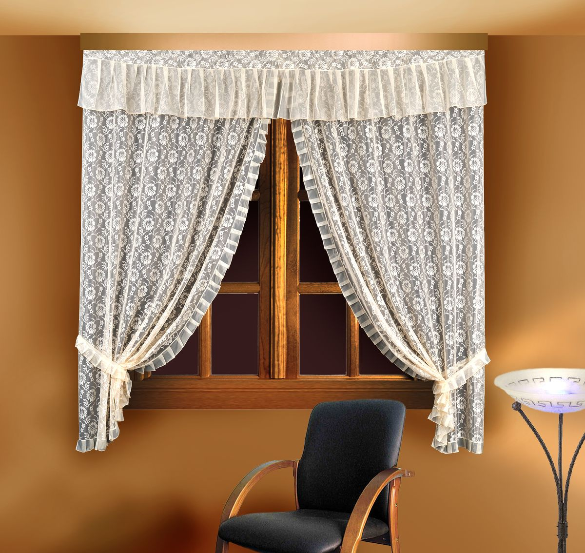 Комплект штор для кухни Zlata Korunka, цвет: кремовый, высота 220 см. 88834 шторы для кухни drdeco комплект штор basilic дизайн 9