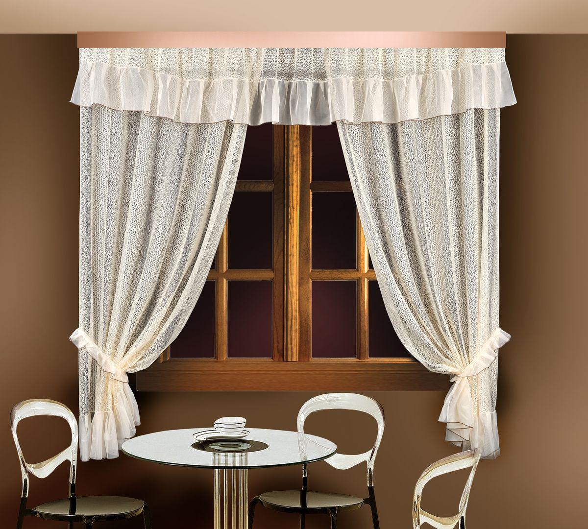 Комплект штор для кухни Zlata Korunka, цвет: кремовый, высота 250 см. 88835 шторы для кухни drdeco комплект штор basilic дизайн 9
