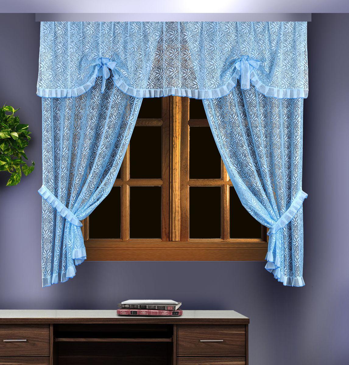 Комплект штор для кухни Zlata Korunka, цвет: голубой, высота 180 см. 88836 шторы для кухни drdeco комплект штор basilic дизайн 9