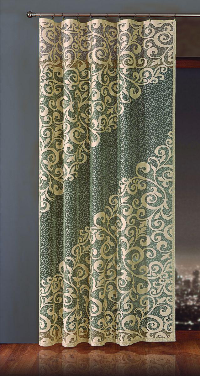Гардина-панно Wisan Esy, на ленте, цвет: бежевый, черный, высота 250 см гардина лапша dora на ленте цвет белый высота 250 см