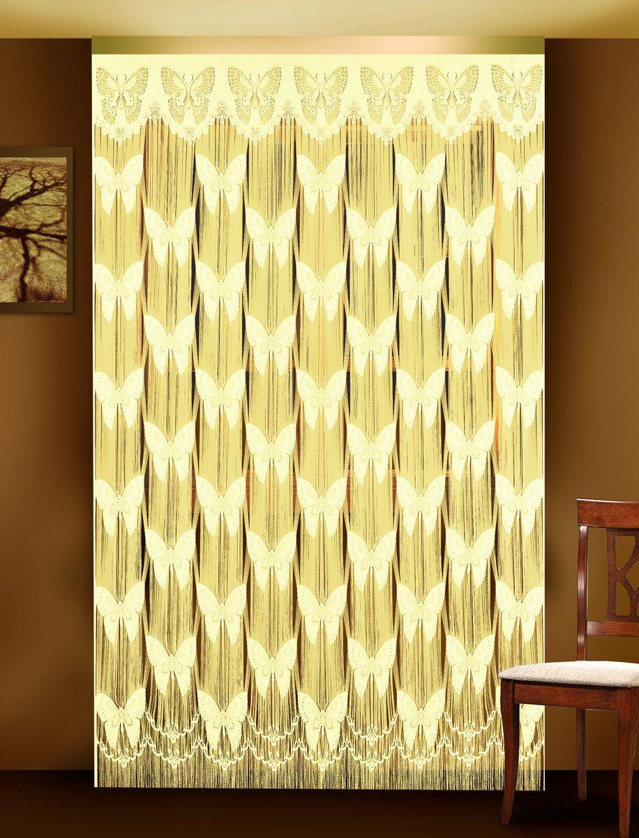 Гардина-лапша Zlata Korunka, цвет: кремовый, высота 250 см. 88801 гардина лапша dora на ленте цвет белый высота 250 см