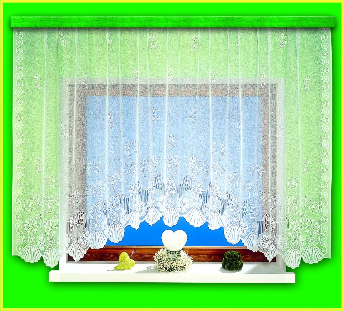 Гардина для кухни Haft Magia Wzorow, на ленте, цвет: белый, высота 160 см. 94090/160 цена