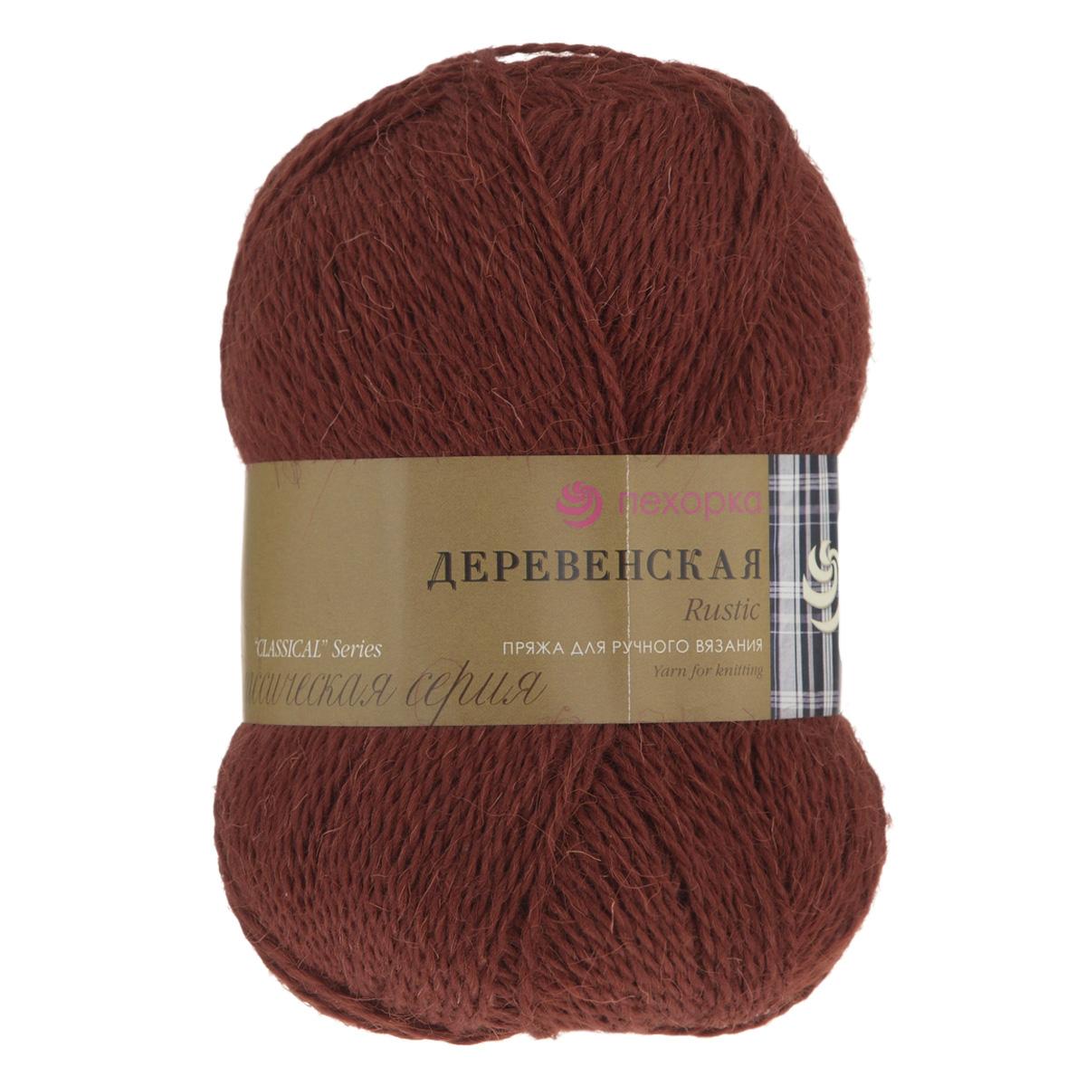 """Пряжа для вязания Пехорка """"Деревенская"""", цвет: красное дерево (487), 250 м, 100 гр, 10 шт"""