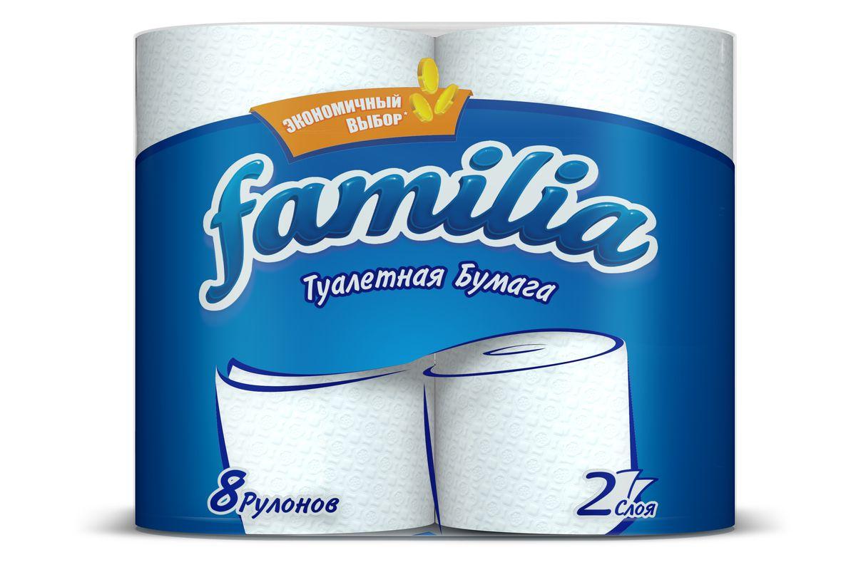 Туалетная бумага Familia, двухслойная, цвет: белый, 8 рулонов туалетная бумага familia plus магический цветок двухслойная цвет белый 4 шт