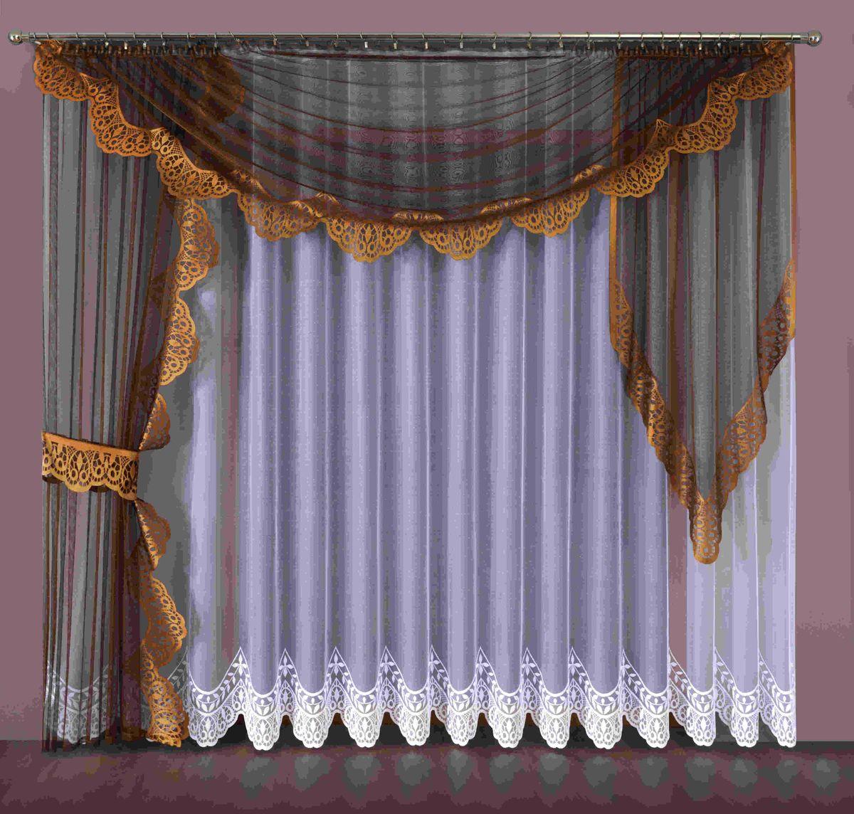 Комплект штор Wisan Aspazja, на ленте, цвет: белый, коричневый, высота 250 см комплект штор wisan цвет коричневый высота 250 см 030w