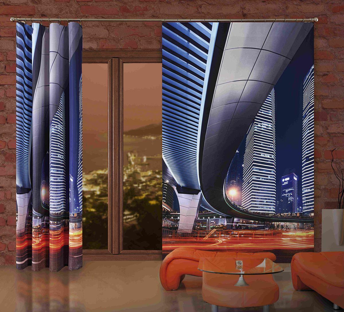 Комплект гардин-панно Wisan Miasto, на ленте, цвет: синий, высота 250 см комплект штор wisan цвет коричневый высота 250 см 030w