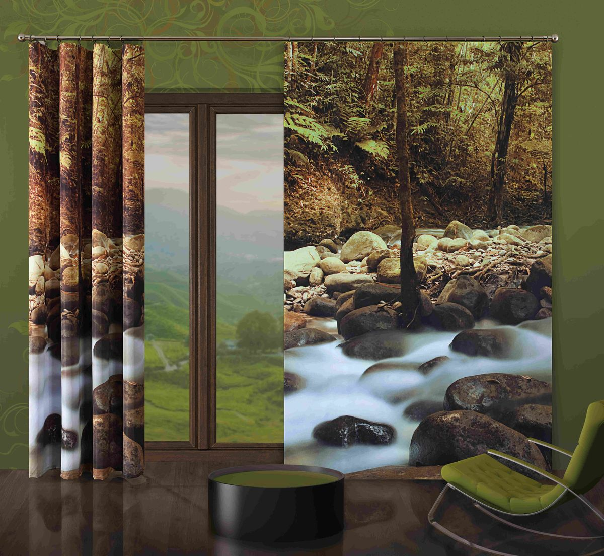 Комплект гардин-панно Wisan Kamienie, на ленте, цвет: коричневый, серый, высота 250 см комплект штор wisan цвет коричневый высота 250 см 030w