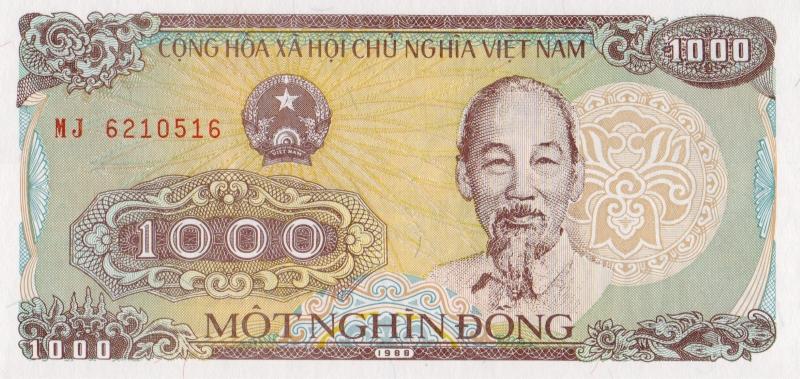 Банкнота номиналом 1000 донгов. Вьетнам, 1988 год