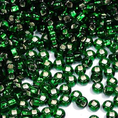 Бисер прозрачный Preciosa, с серебристой серединой, цвет: темно-зеленый (57060), размер 10/0, 50 г бисер preciosa прозрачный матовый с цветной серединой цвет светло серый 38342 5 г