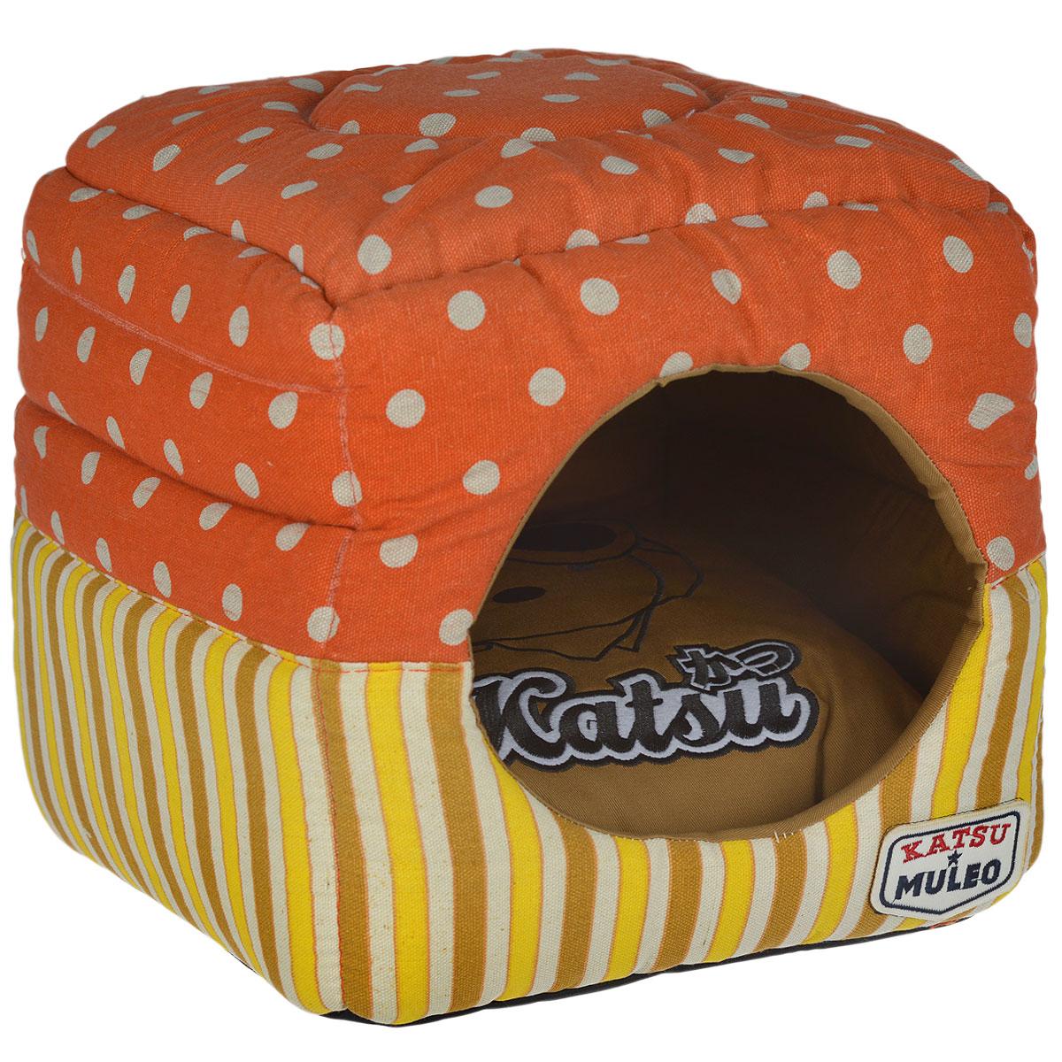 Домик Katsu Muleo, складной, цвет: оранжевый, размер S домик для кошек и собак titbit с игрушкой цвет рыжий 43 см х 43 см х 40 см
