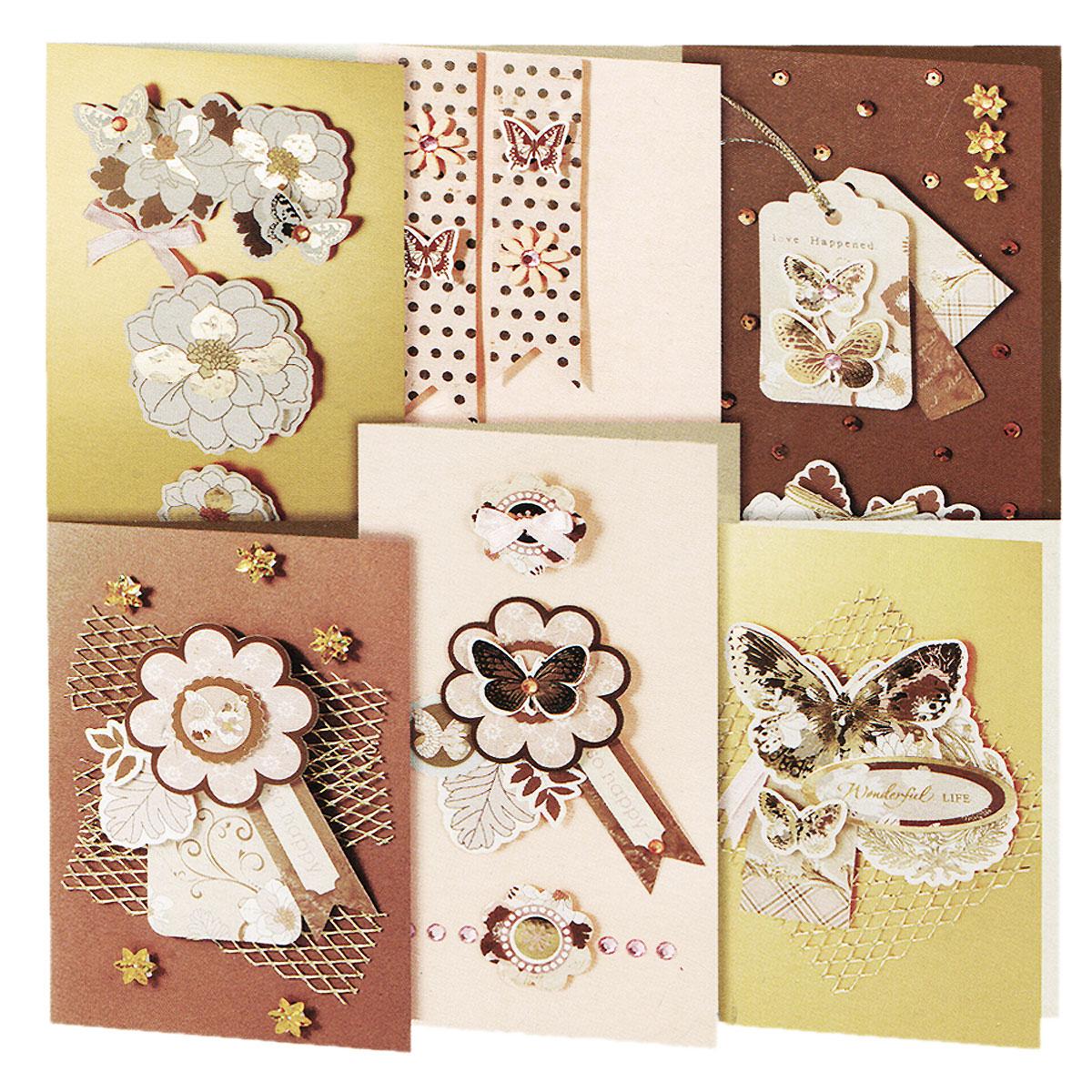 Набор для создания открыток Белоснежка Бабочки, 6 шт набор для создания открыток белоснежка аквамарин 6 шт