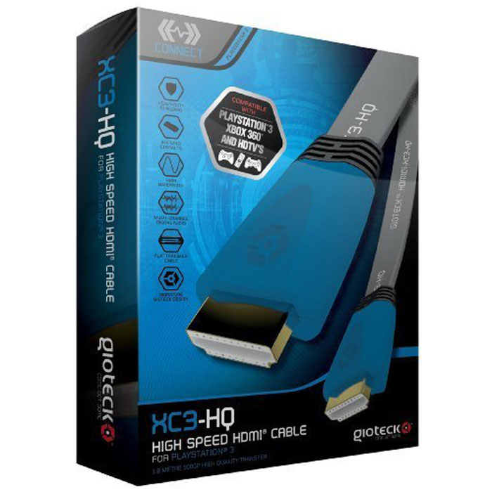 Gioteck XC3-HQ кабель HDMI высокоскоростной плоский, Blue 1.8 м shanze samzhe sz 360w сетевой удлинитель hdmi rj45 сетевой кабель 60 метров передатчик сигнала hdmi приемник передача без потерь 1080p