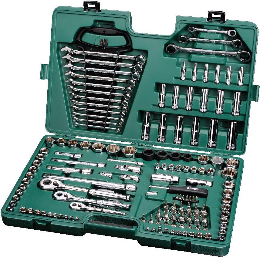 Набор инструментов SATA 150пр. 09510 держатель оси 3 размера для осей от 5 16 до 9 16 ptlav 4