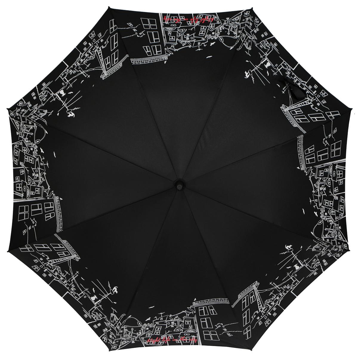 Зонт-трость женский Zest, полуавтомат, цвет: черный, белый. 21629-8047 зонт трость zest 21641 7