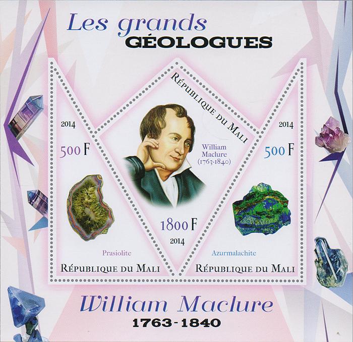 Почтовый блок Уильям Маклюр и минералы из серии Великие геологи. Мали, 2014 год почтовый блок мэри эннинг сауролофус и др из серии великие палеонтологи мали 2014 год