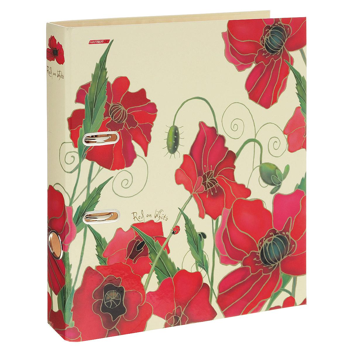 Папка-регистратор Hatber Red on White, ширина корешка 45 мм, цвет: бежевый, красный папка регистратор hatber red on black ширина корешка 70 мм цвет черный красный