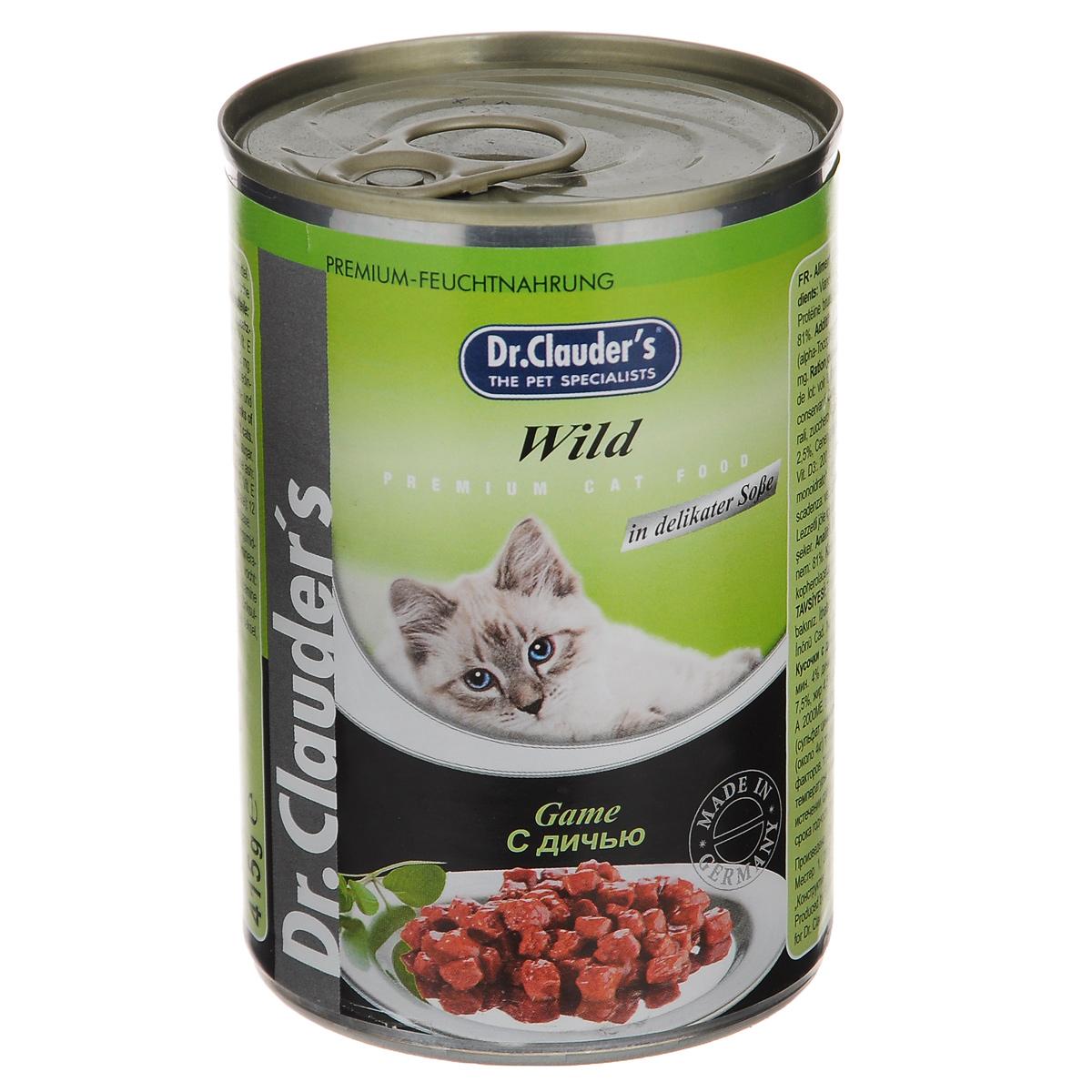 """Консервы для кошек """"Dr. Clauder's"""", с дичью, 415 г"""