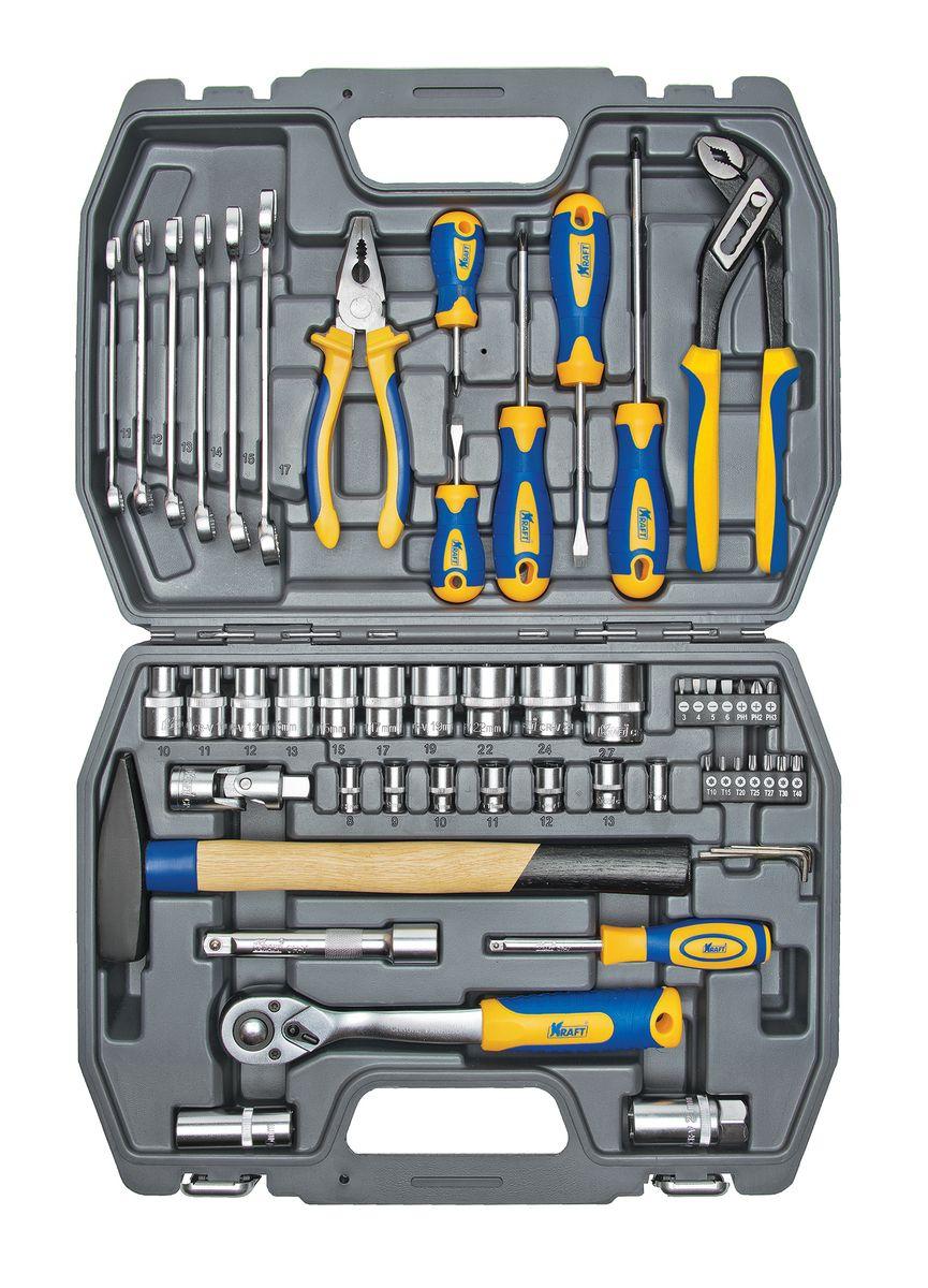 Набор инструментов Kraft Professional, универсальный, 1/2, 1/4, 56 предметов набор инструментов kraft professional универсальный 1 2 1 4 82 предмета