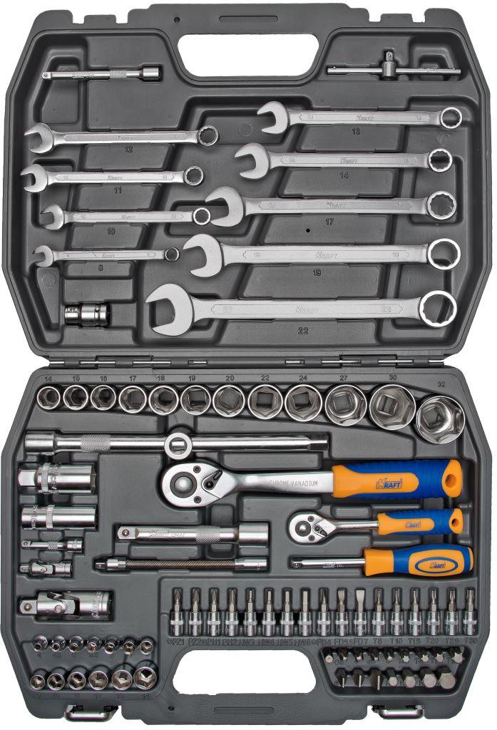 Набор инструментов Kraft Professional, универсальный, 1/2, 1/4, 82 предмета набор инструментов kraft professional универсальный 1 2 1 4 82 предмета