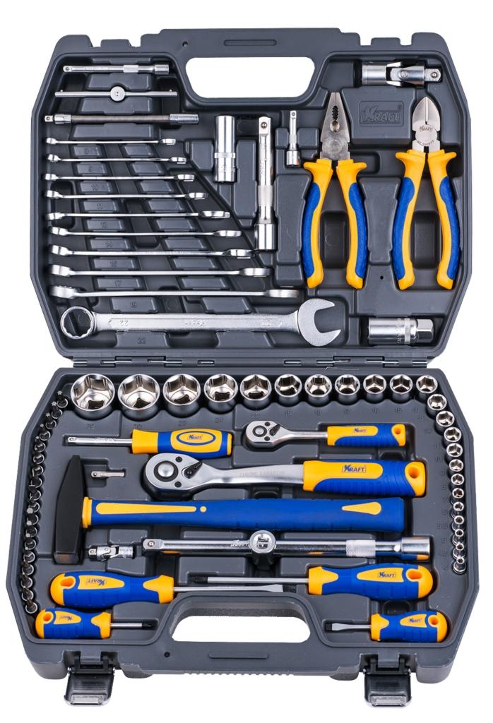 Набор инструментов Kraft Professional, универсальный, 1/2'', 1/4'', 73 предмета набор инструментов kraft professional универсальный 1 2 1 4 82 предмета