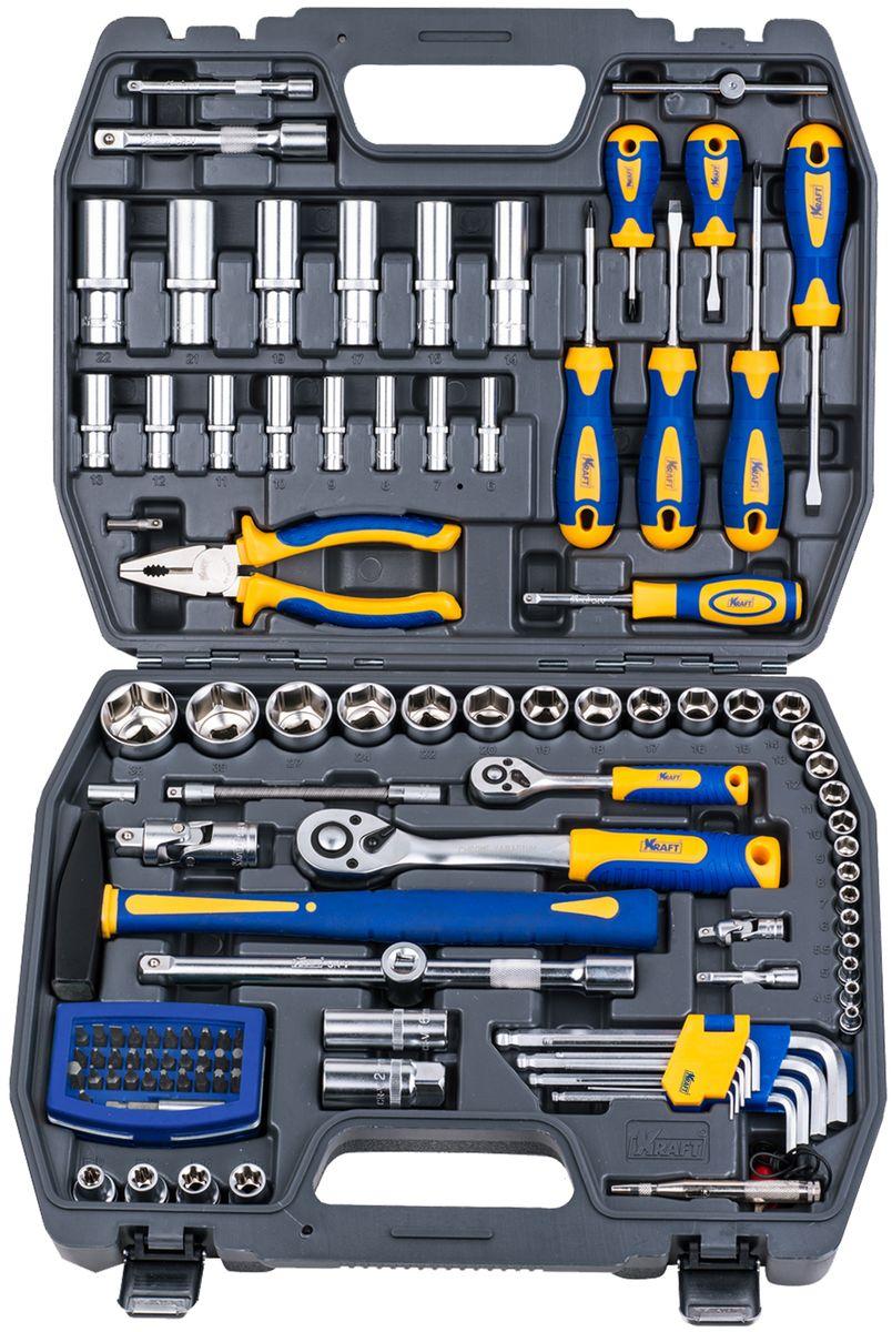 Набор инструментов Kraft Professional, универсальный, 1/2, 1/4, 109 предметов набор инструментов kraft professional универсальный 1 2 1 4 82 предмета