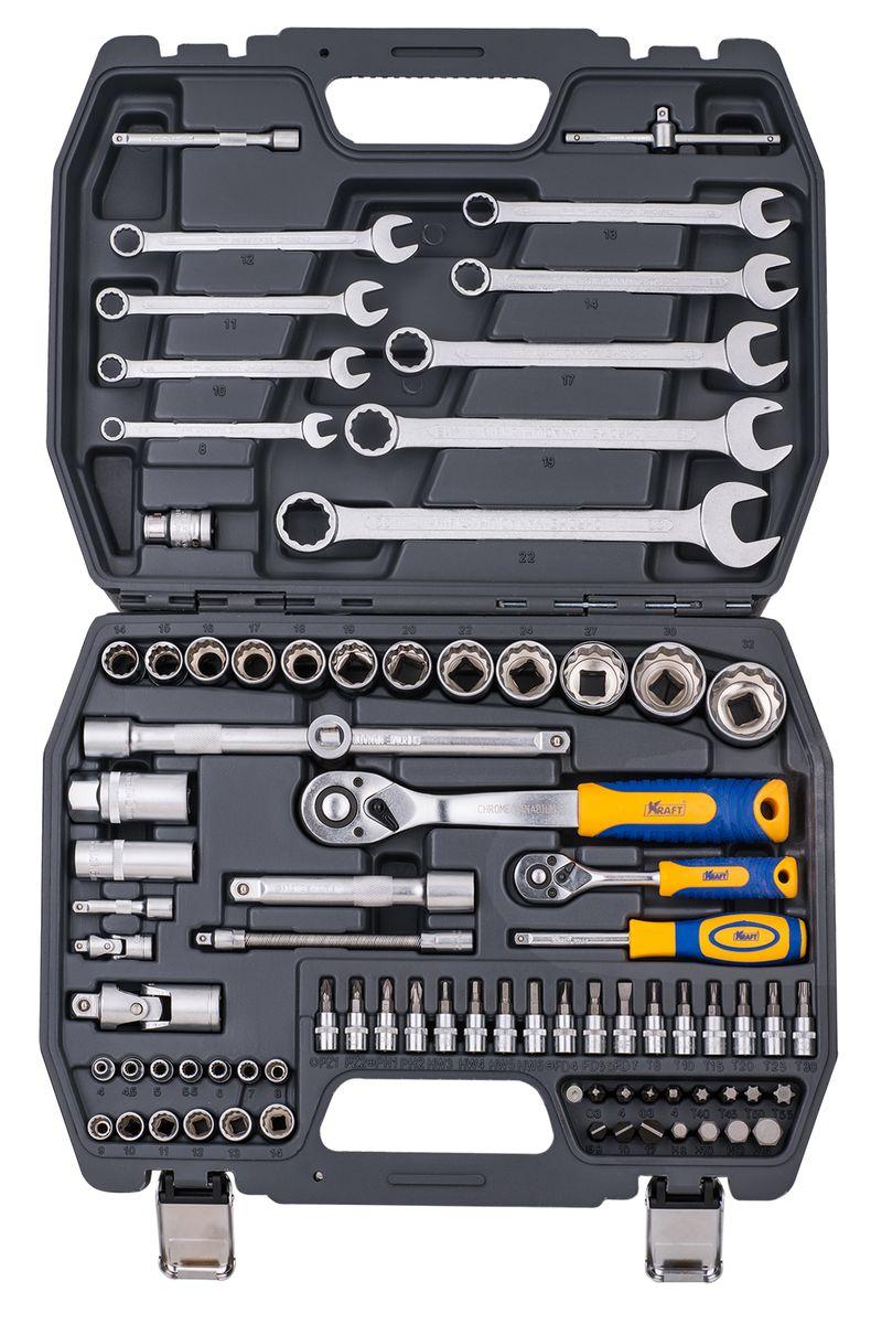 Набор инструментов Kraft Professional, двенадцатигранный, 1/2, 1/4, 82 предмета набор инструментов kraft professional универсальный 1 2 1 4 82 предмета
