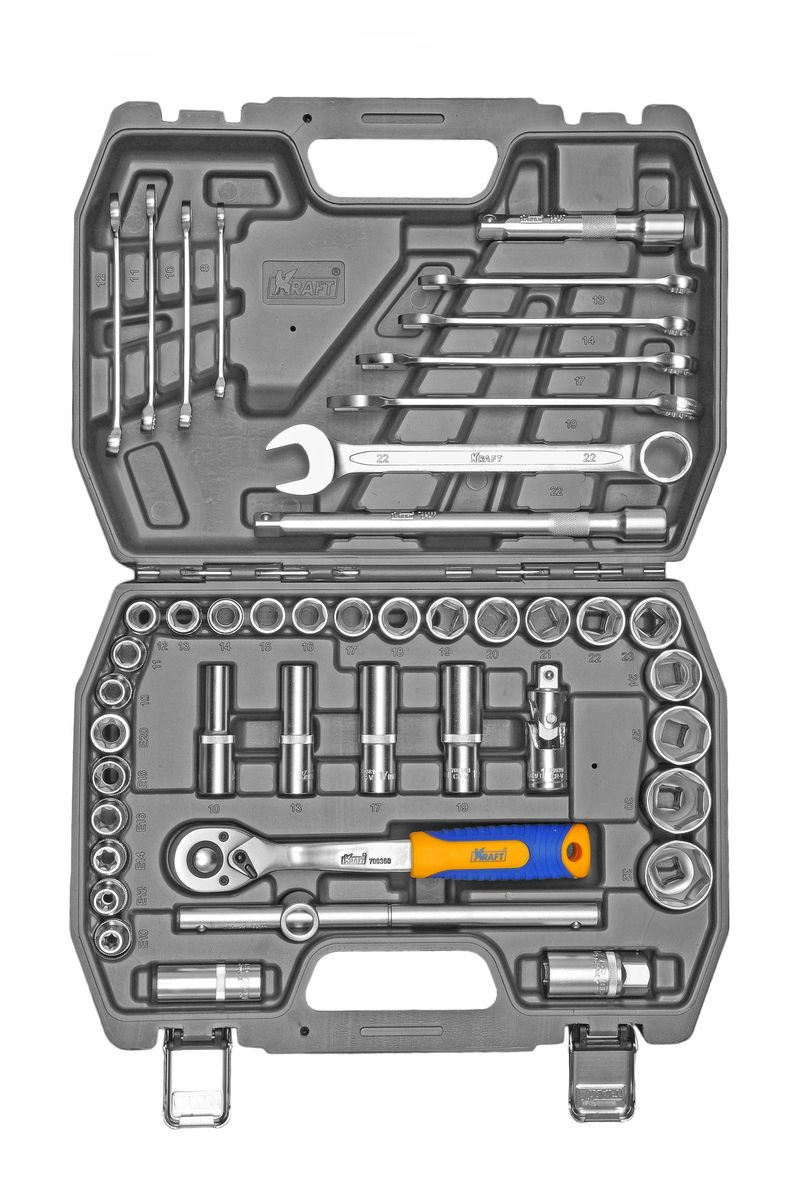 Набор инструментов Kraft Professional, 1/2, 44 предмета набор инструментов kraft professional универсальный 1 2 1 4 82 предмета