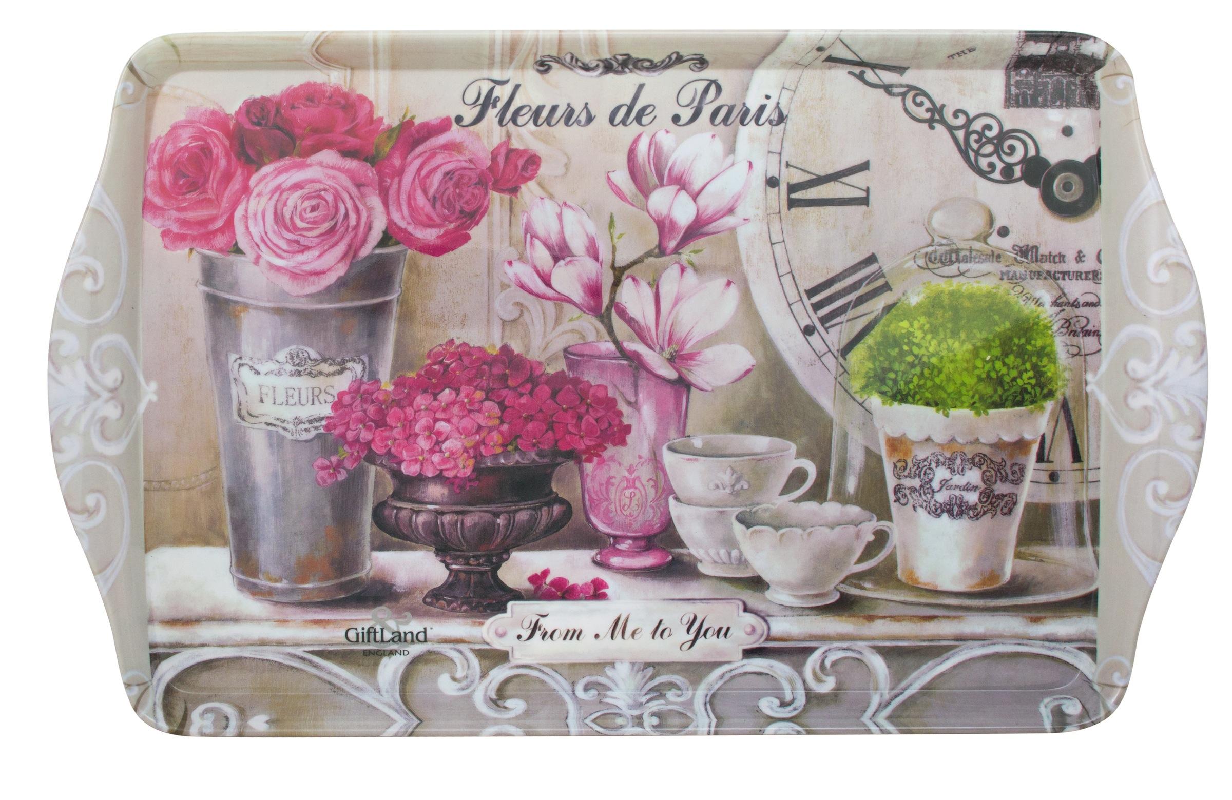 """Поднос сервировочный GiftLand """"Парижские цветы"""", 38,8 x 24 см"""