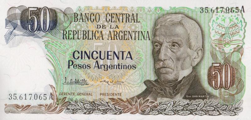Банкнота номиналом 50 аргентинских песо. Аргентина, 1983 год